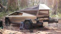 tesla cybertruck camping tent kitchen