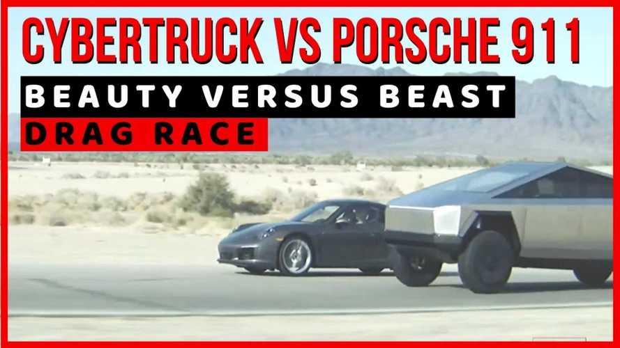 Watch Tesla Cybertruck Crush Porsche 911 In Drag Race