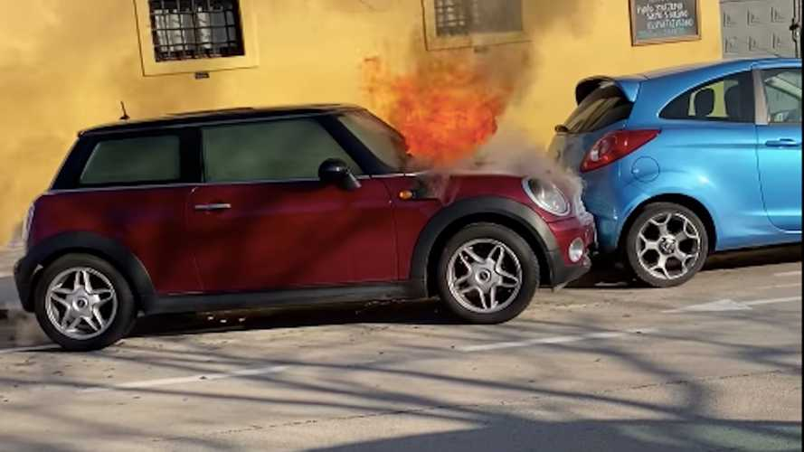 Flaming Mini Cooper Moves By Itself