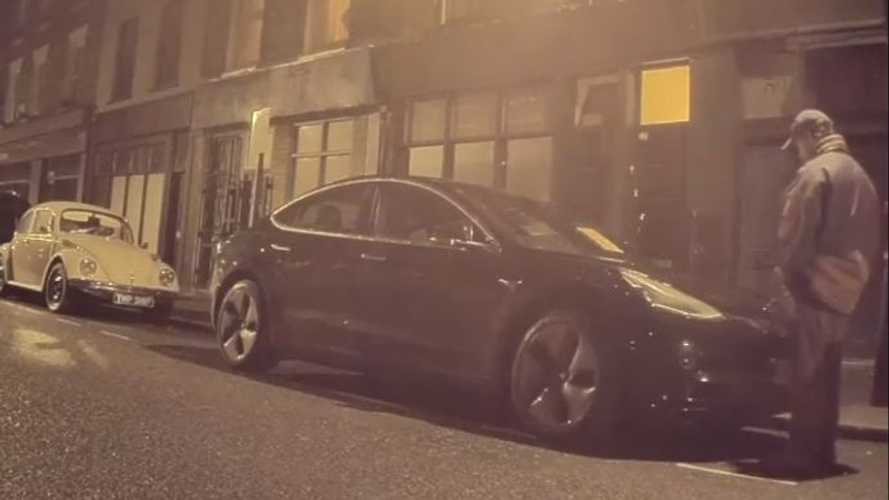 Why'd This Guy Pee On A Tesla Model 3? Sentry Mode Video