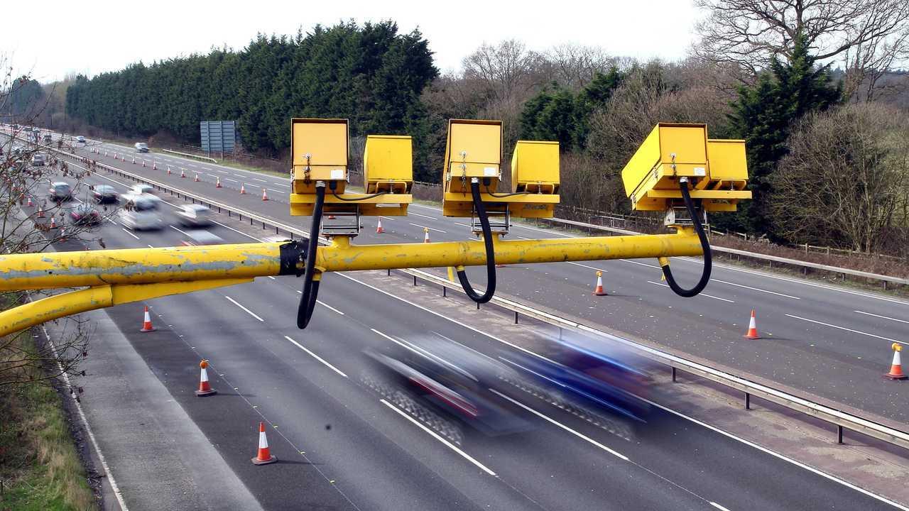 Average speed cameras on the M3 motorway Fleet Hampshire UK