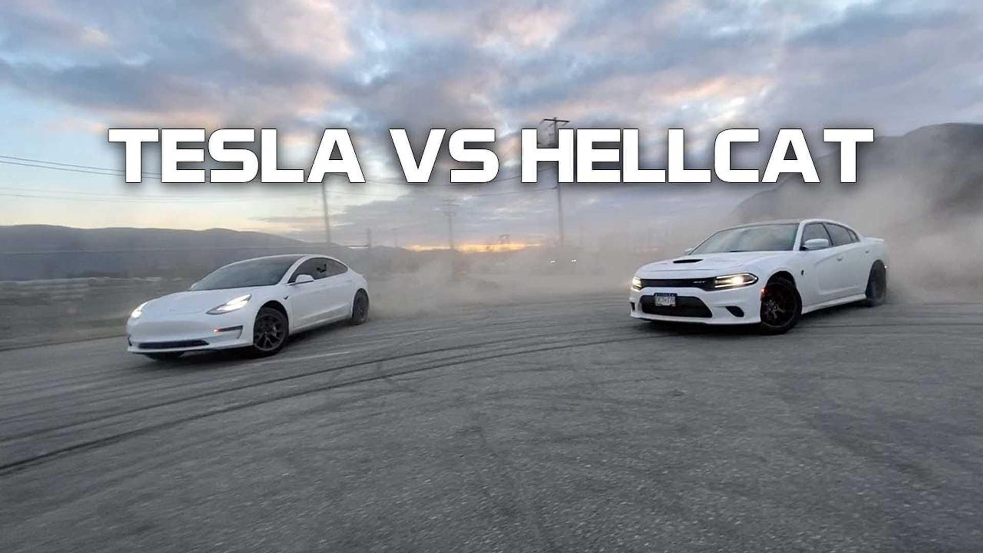Drifting, Drag Racing, Burn Outs: Tesla Model 3 Battles Dodge Hellcat