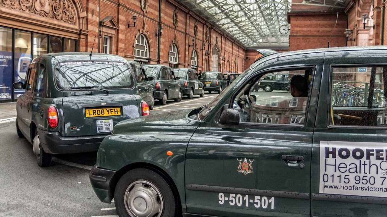 Taxis waiting for fares at the Nottingham Railway Station UK