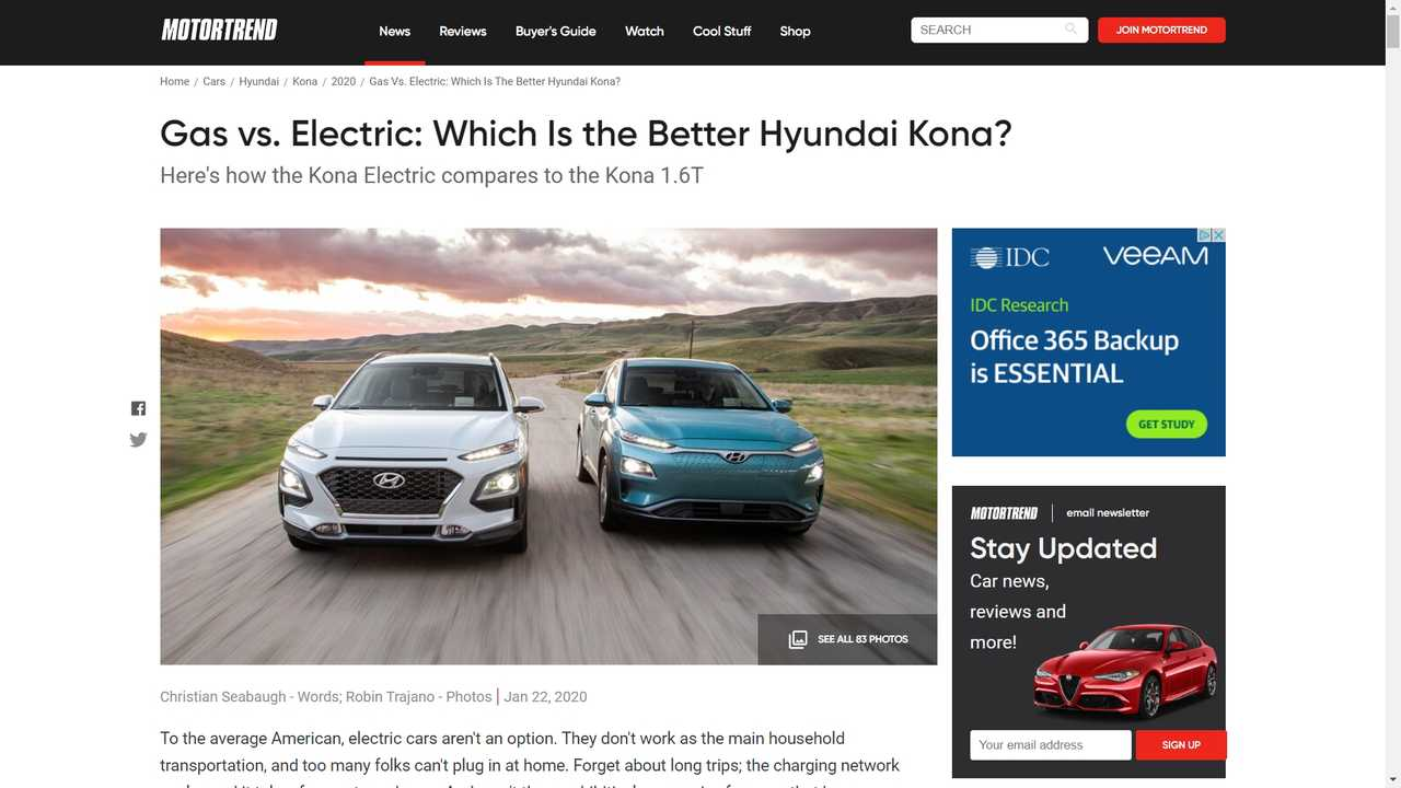 Comparison Between Kona Electric And 1.6T Show Another Burden For EVs