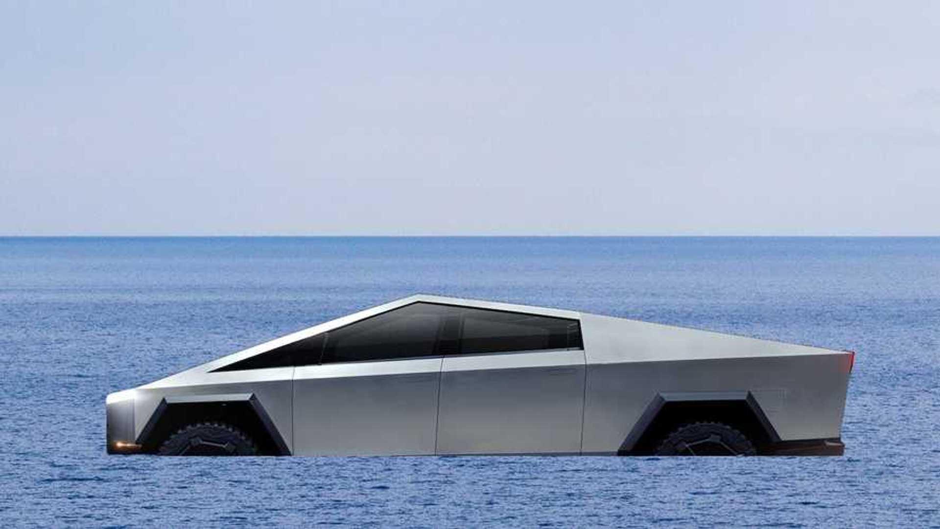 Pickup Trucks Take Note Tesla Cybertruck Wades Deep Water Even Floats
