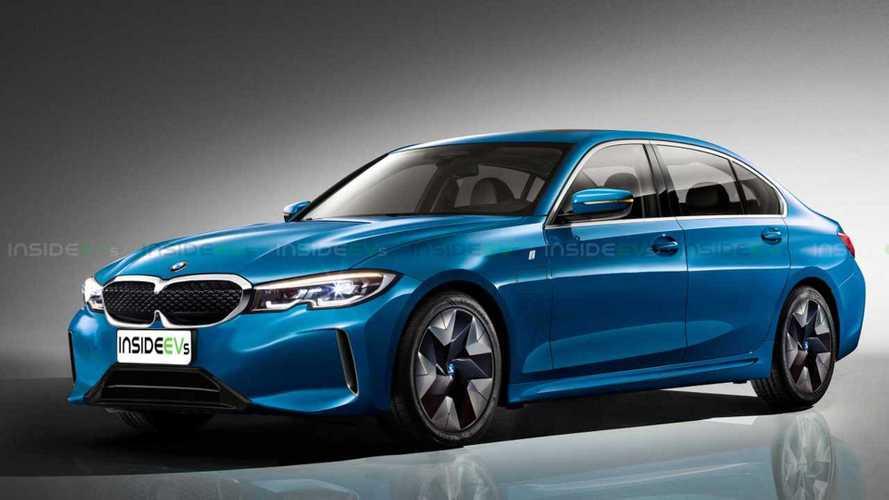 BMW Serie 3 eléctrico, render de la berlina 100% eléctrica