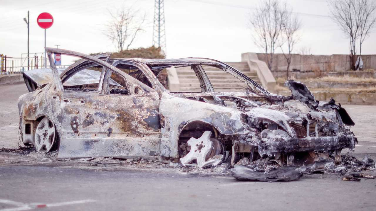 Stolen and burnt-out Mercedes S-Class
