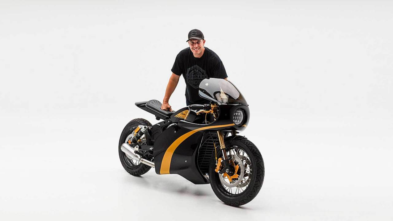 PJ with his black and gold racer.