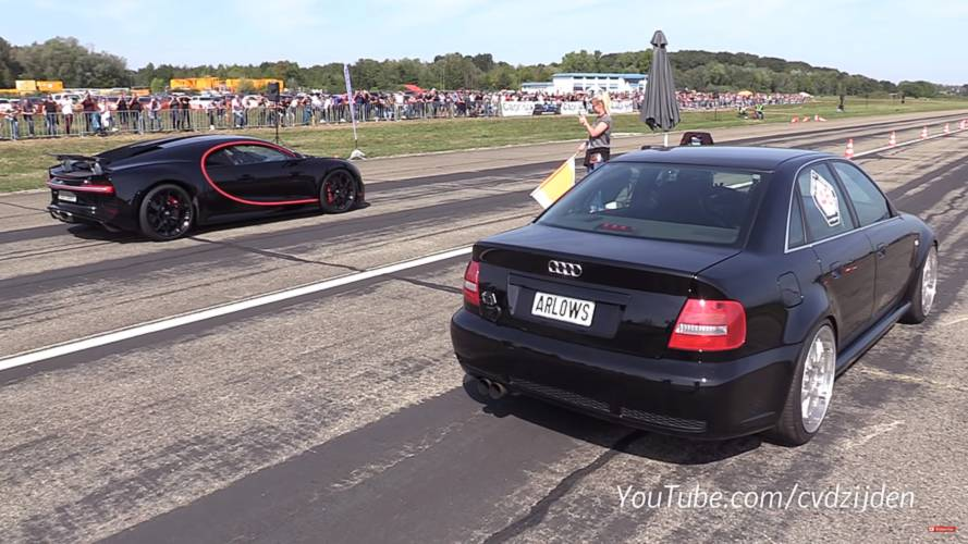 1,300-bhp Audi races Bugatti Chiron in David vs. Goliath showdown