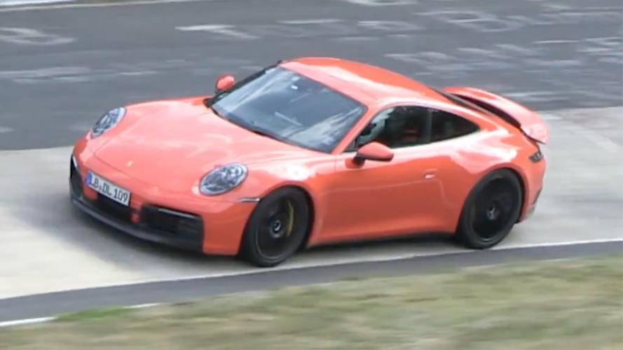 Orange Porsche 911 Spied Squeezing Everything Out Of The 'Ring