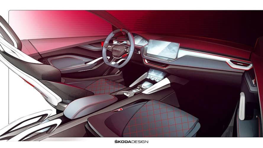Skoda Vision RS cabin teased with crystal glass, carbon fibre