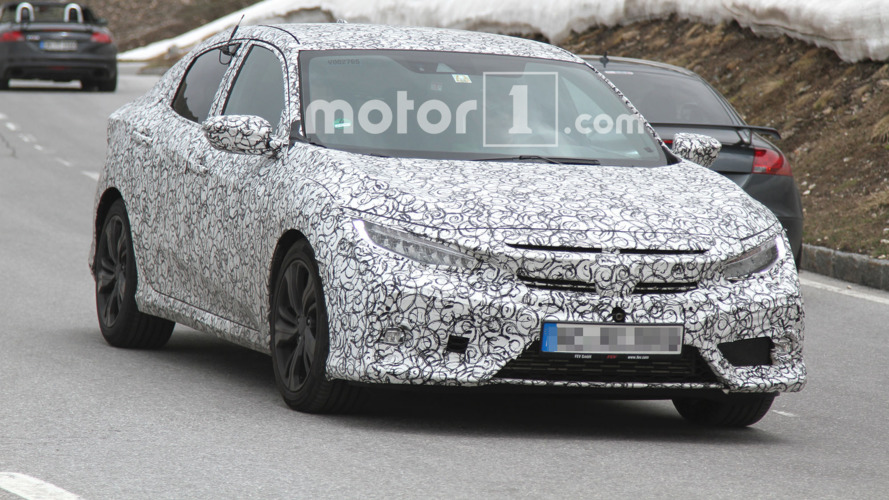 2017 Honda Civic Hatchback spied climbing through the Alps