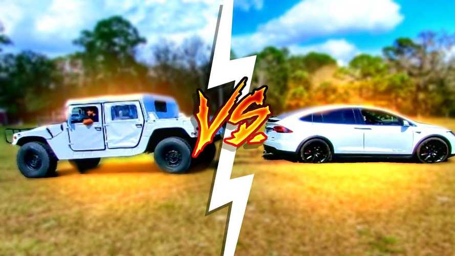 Watch Tesla Model X tug of war battle against Army Hummer, Ford F-450
