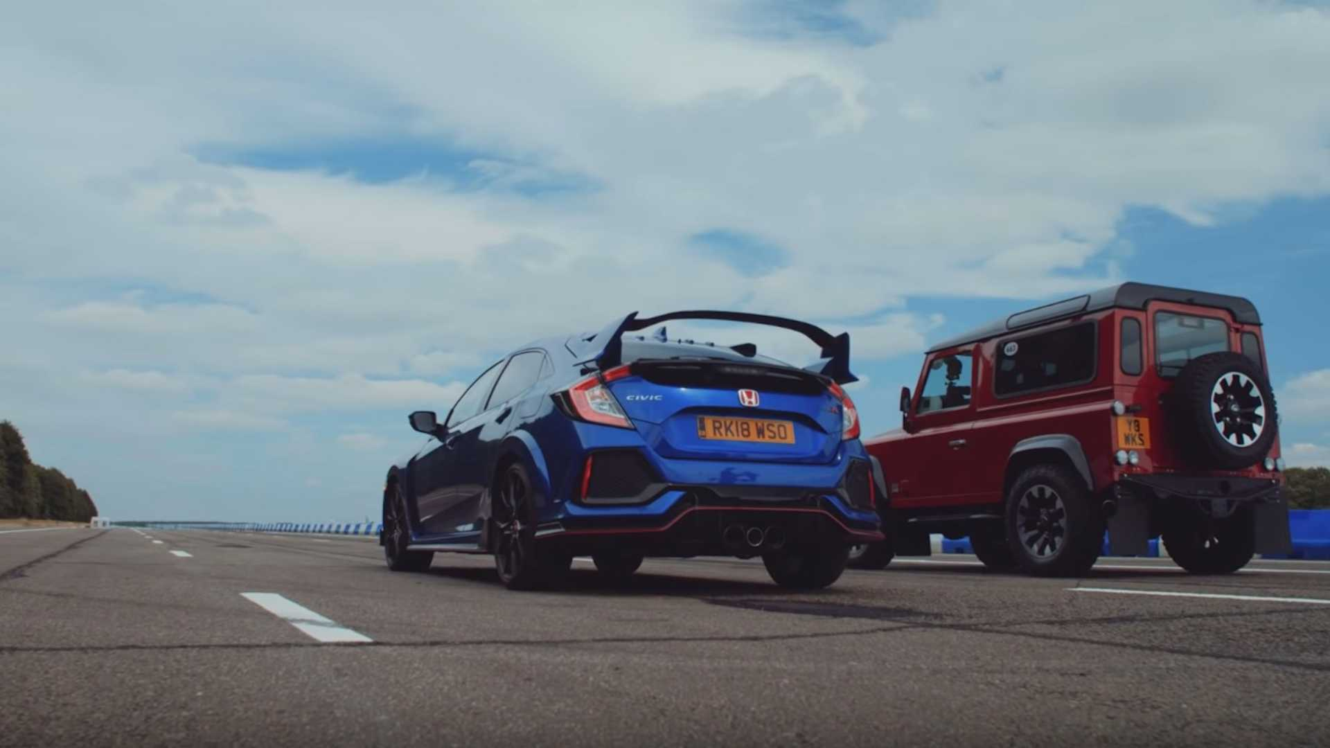 Civic Type R Fights Defender Works V8 In Unexpected Drag Race