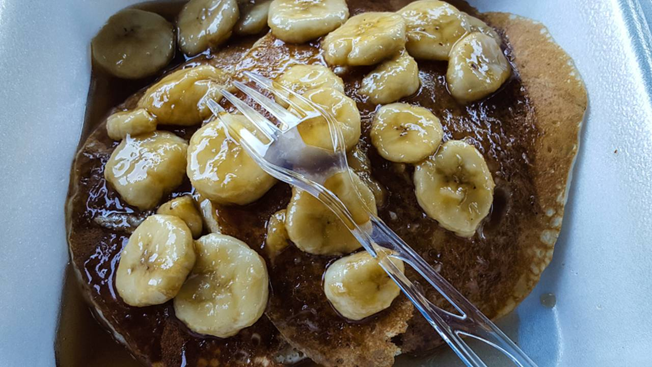 <em>Pancakes, syrup and caramelized bananas, the breakfast of champions.</em>