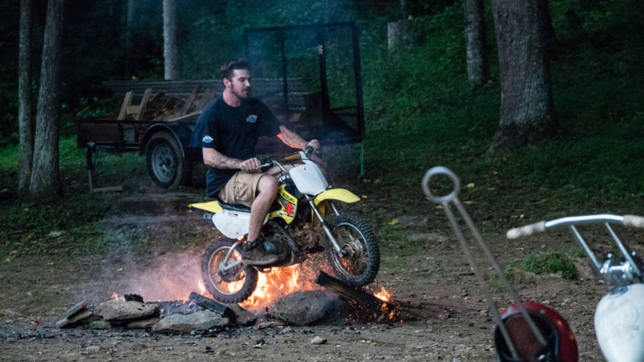 <em>This guy woke up on Sunday with a few unexplained burns and bruises, but the motorcycle made it through the weekend unscathed.</em>
