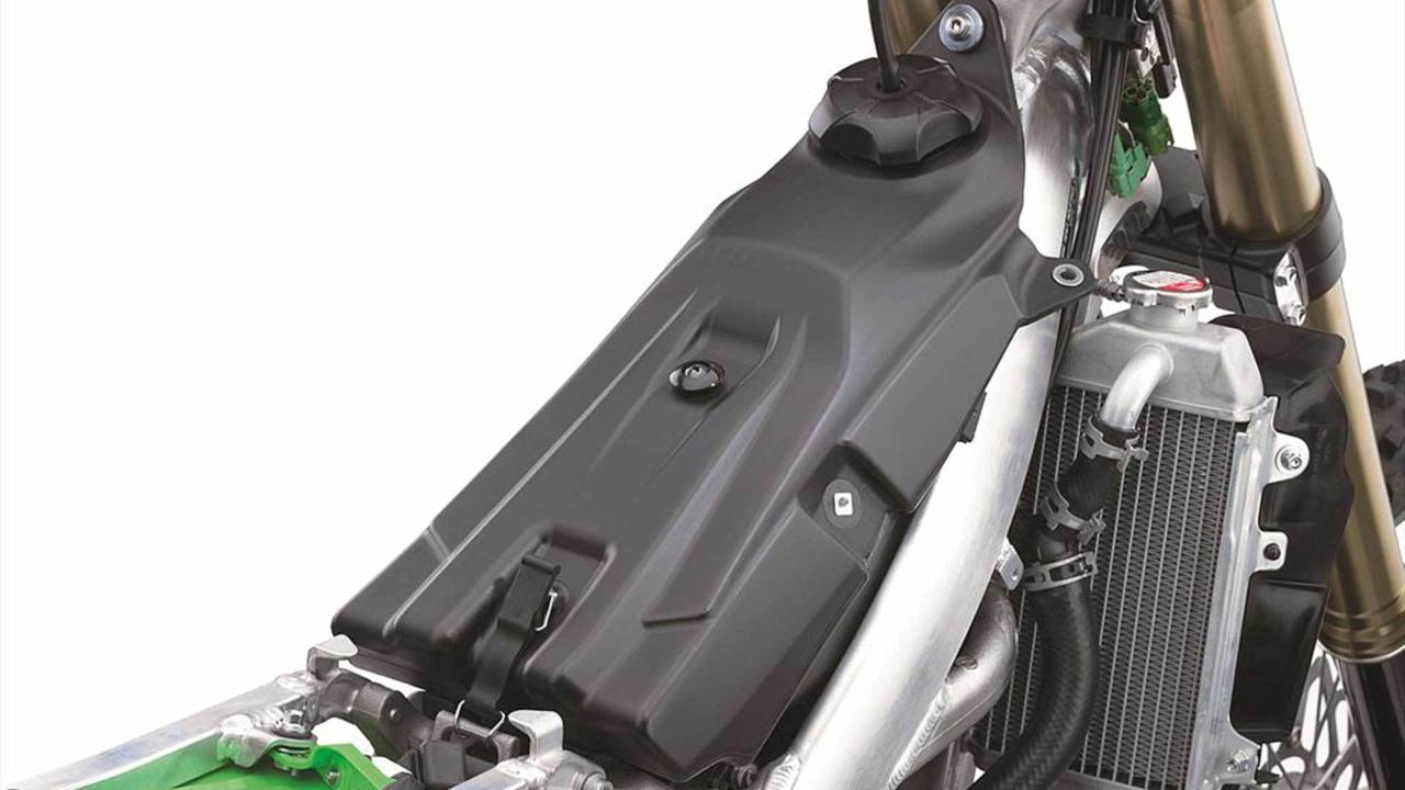 The compact fuel pump is hidden away in the low profile plastic fuel tank.