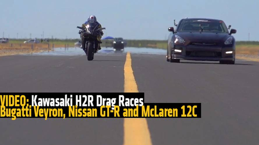 VIDEO: Kawasaki H2R Drag Races Bugatti Veyron, Nissan GT-R and McLaren 12C