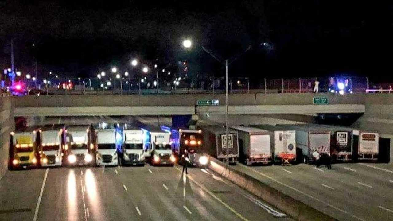 Semi-Trucks Overpass