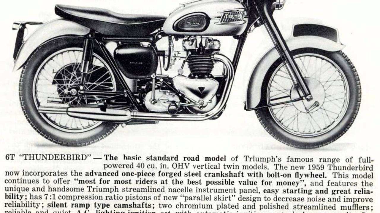 The 650cc Triumph Thunderbird twin rounds out the top ten in Hagerty's data—shown here as it appeared in the 1959 Triumph USA sales catalog.
