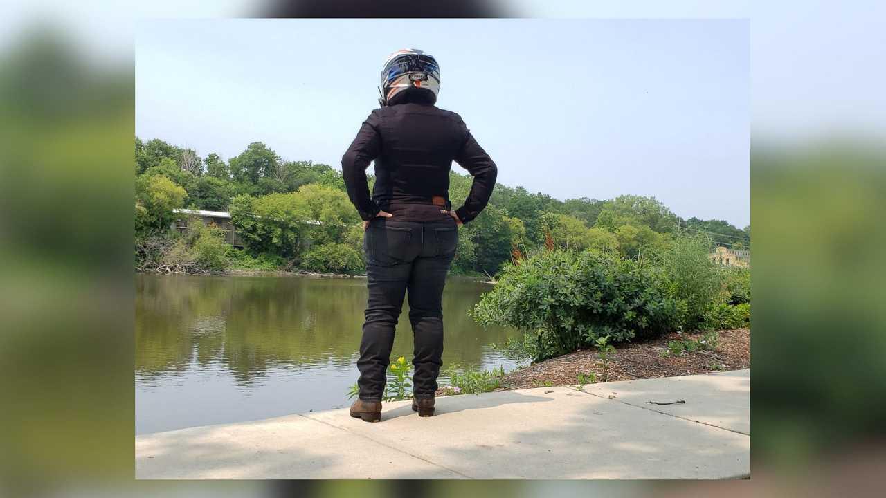 Rokkertech Mid Straight Black Jeans, Women's - Rear View