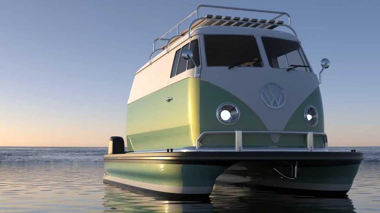 Стилизованная под Volkswagen Type 2 моторная лодка Floating Motors