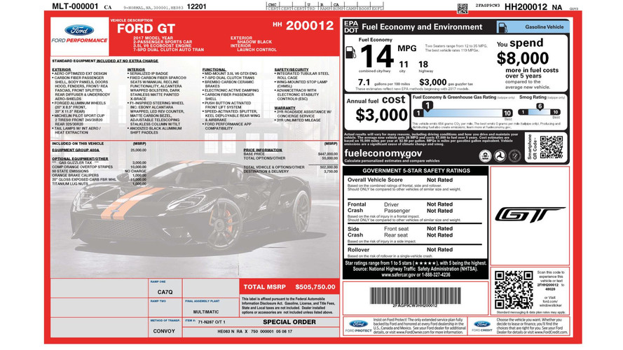 Jay Leno S Ford Gt Window Sticker Shows 506k Price