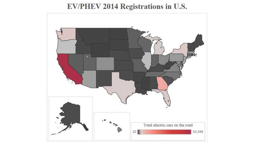 Plug-In Vehicle Adoption: State By State, And By Brand For 2014 In US