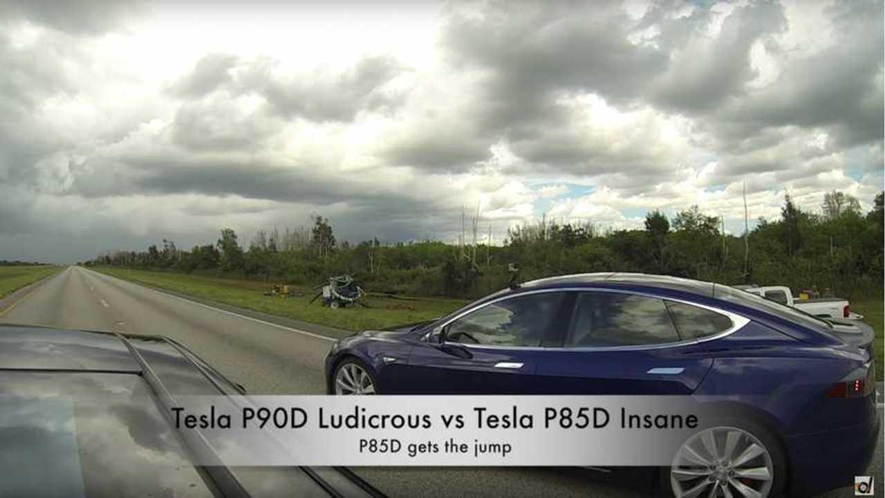 Tesla Model S P90D Ludicrous vs P85D Insane Race