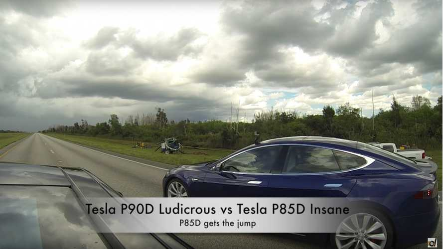 Tesla Model S P90D Ludicrous vs P85D Insane Race - Drag Race Video