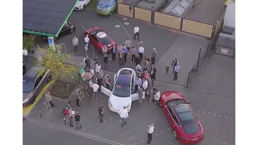 Tesla Model 3 Greeted By Big Crowd In Germany