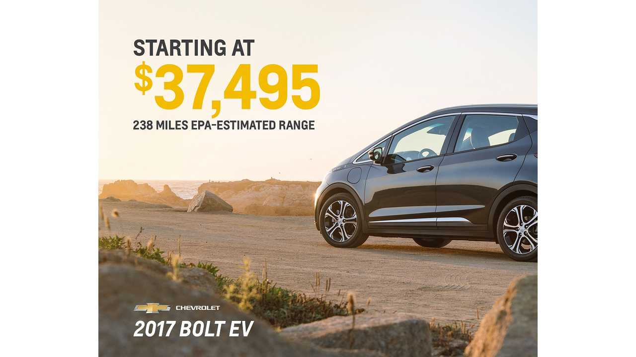 Chevrolet Bolt EV Priced From $37,495, Under 30K With Incentives