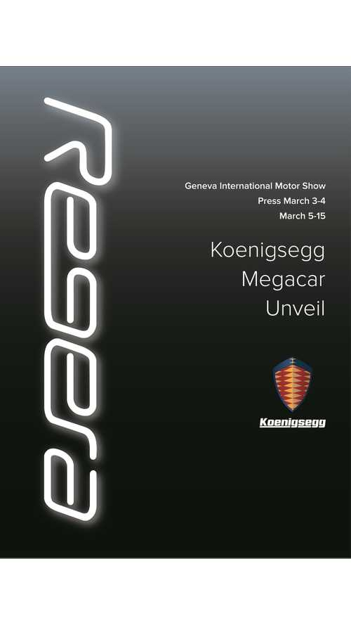 1,360 HP Koenigsegg Regera Plug-In Hybrid Megacar To Debut In Geneva