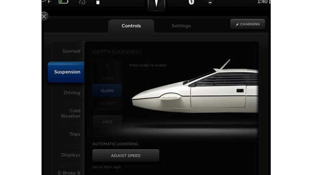 James Bond's Lotus Submarine Found On Hidden Tesla Model S Screen (w/video)