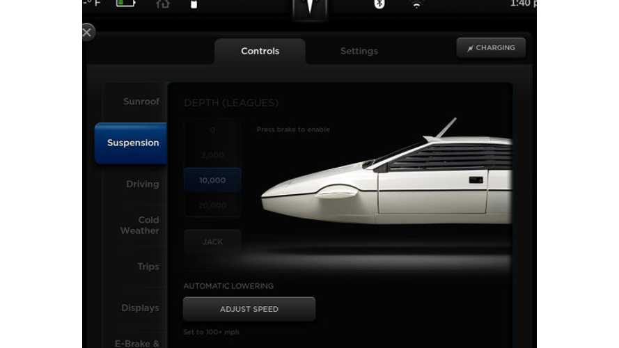 James Bond's Lotus Submarine Found On Hidden Tesla Model S Screen (w/video)