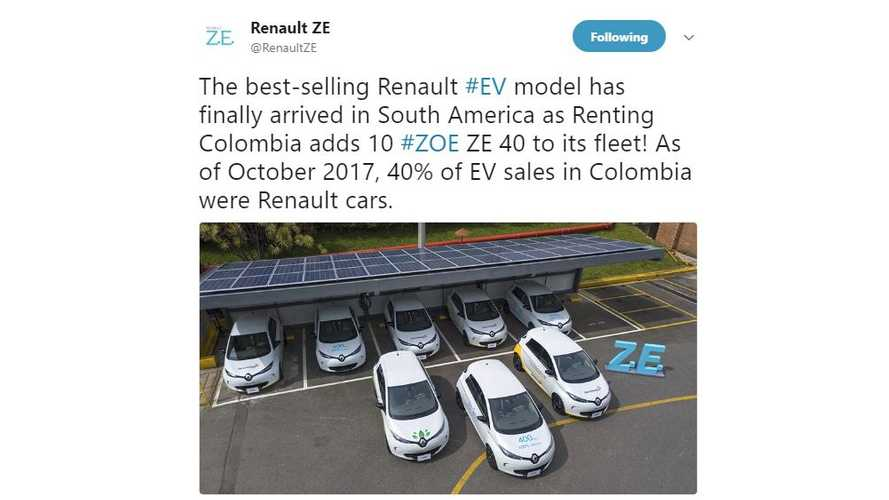 Renault ZOE Arrives In South America, Already Dominating Electric Car Sales