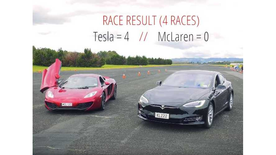 Tesla Model S P100D Versus McLaren MP4-12C - Race Video