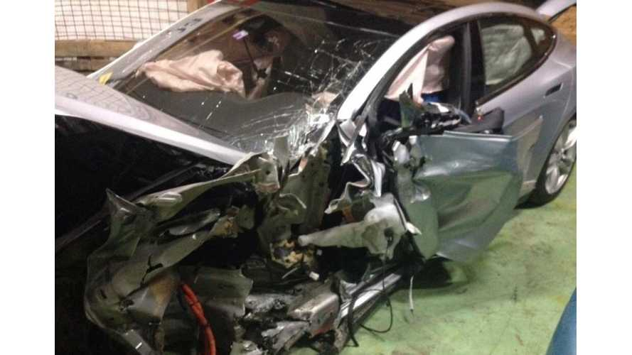 Tesla Model S Driver Uninjured In Serious Wreck With BMW - Images