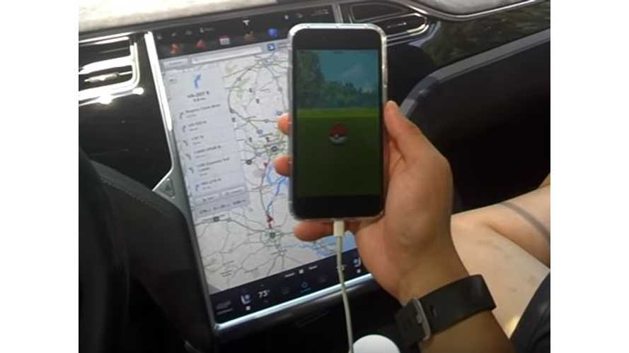 Tesla Model X Autopilot And Pokemon Go - Video