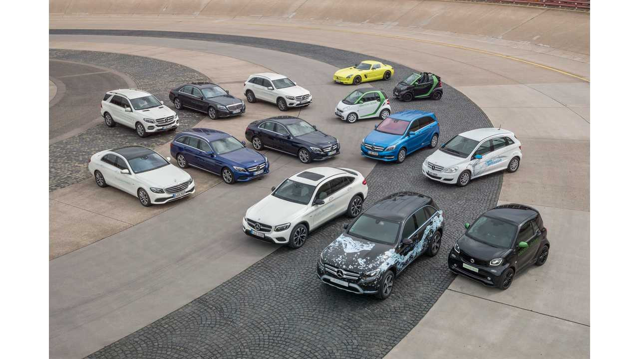 Daimler electric and plug-in hybrid cars. Road to the future: Intelligent drive train solutions for all vehicle classes.