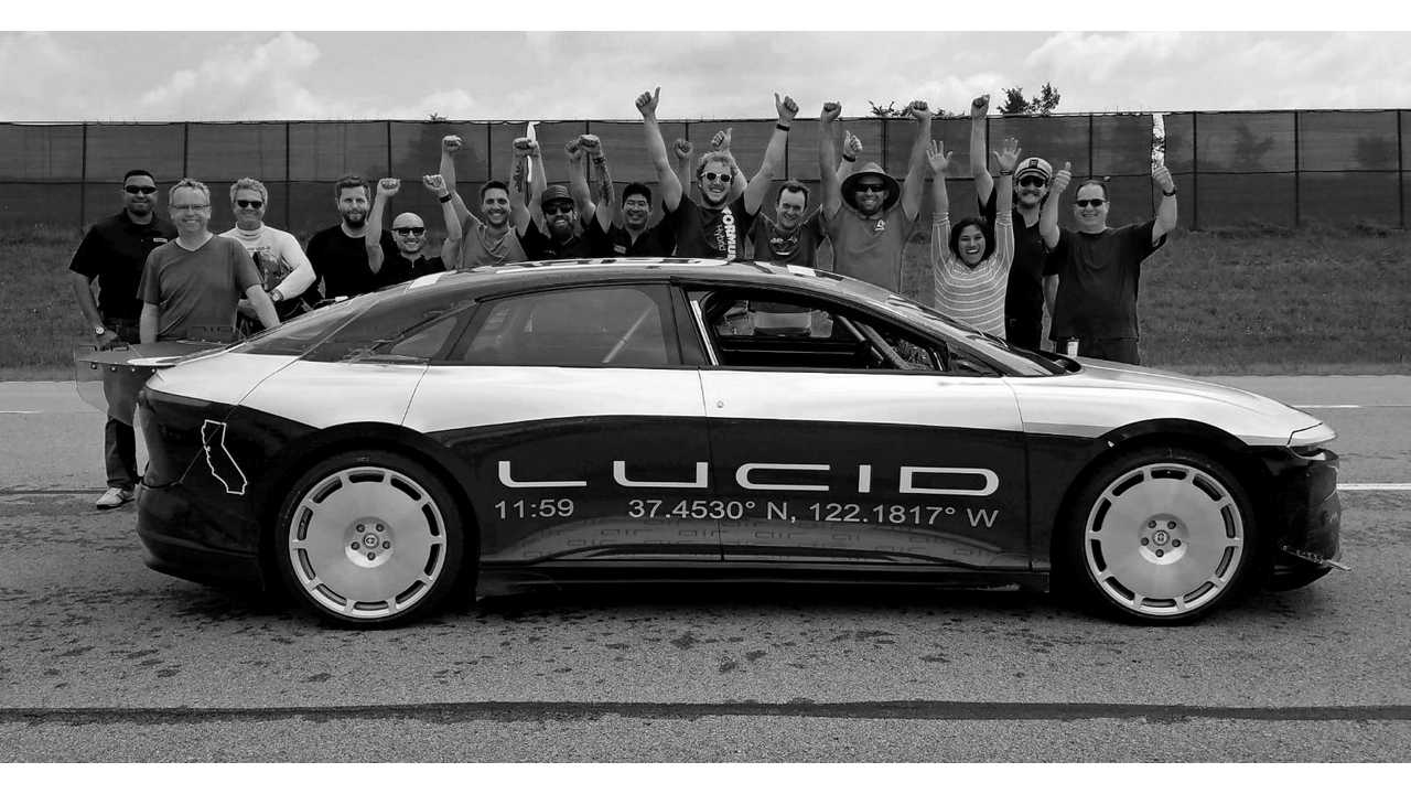 Lucid Air Prototype Hits 235 MPH On High Speed Oval (w/video)