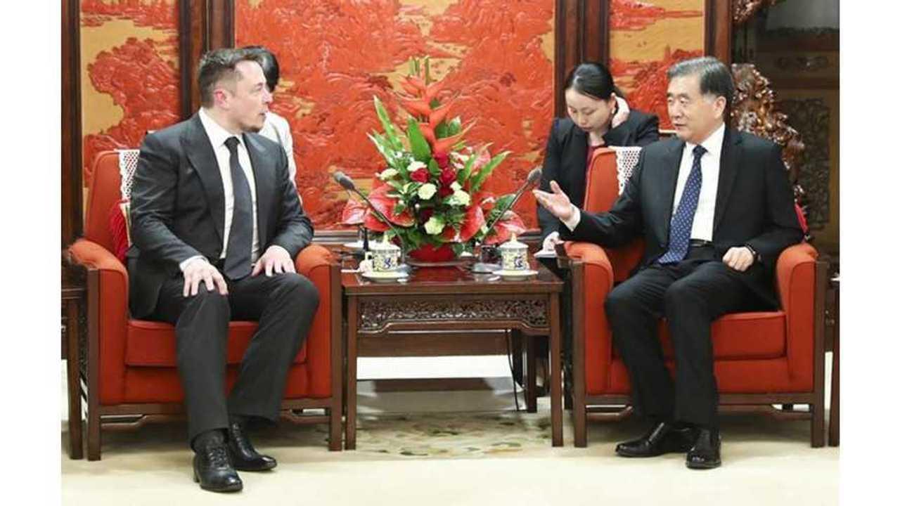 Tesla CEO Elon Musk Meets With Chinese Vice Premier Wang Yang