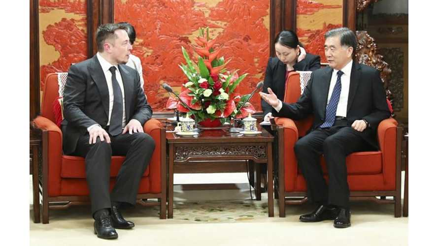 Tesla CEO Elon Musk Meets With Chinese Vice Premier Wang Yang