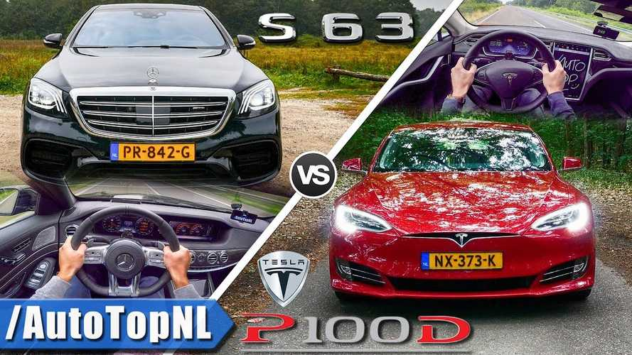 Check Out Tesla Model S P100D Versus Mercedes AMG S63 Top Speed Run