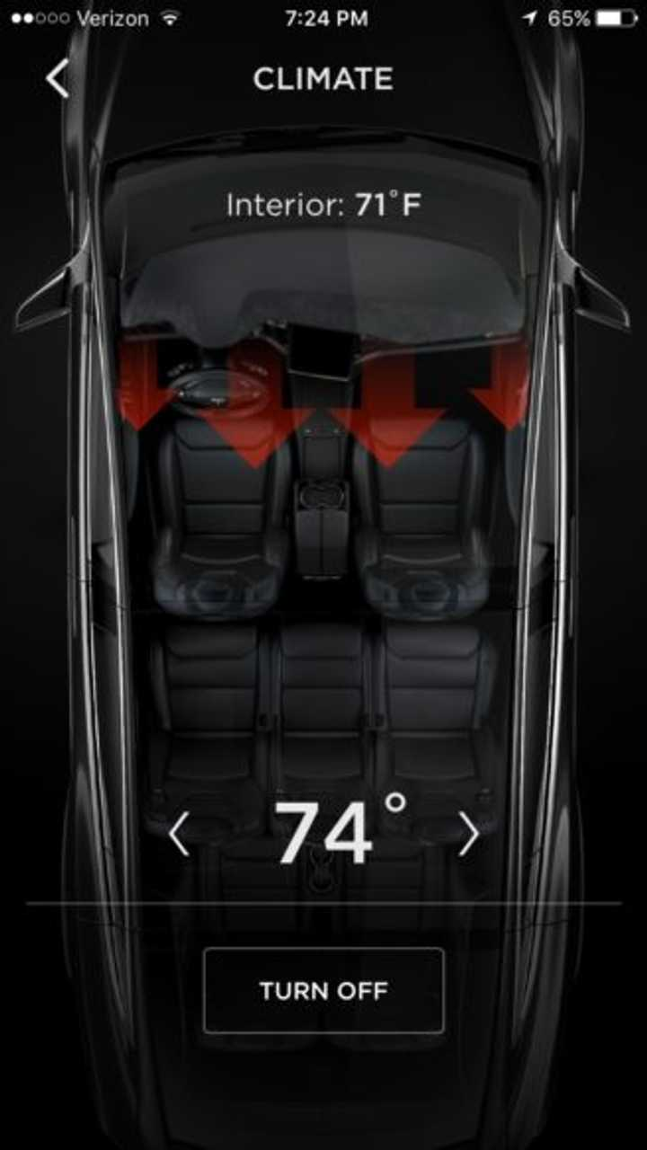 The new Tesla mobile app shows the interior in all of its splendor, in exacting detail.