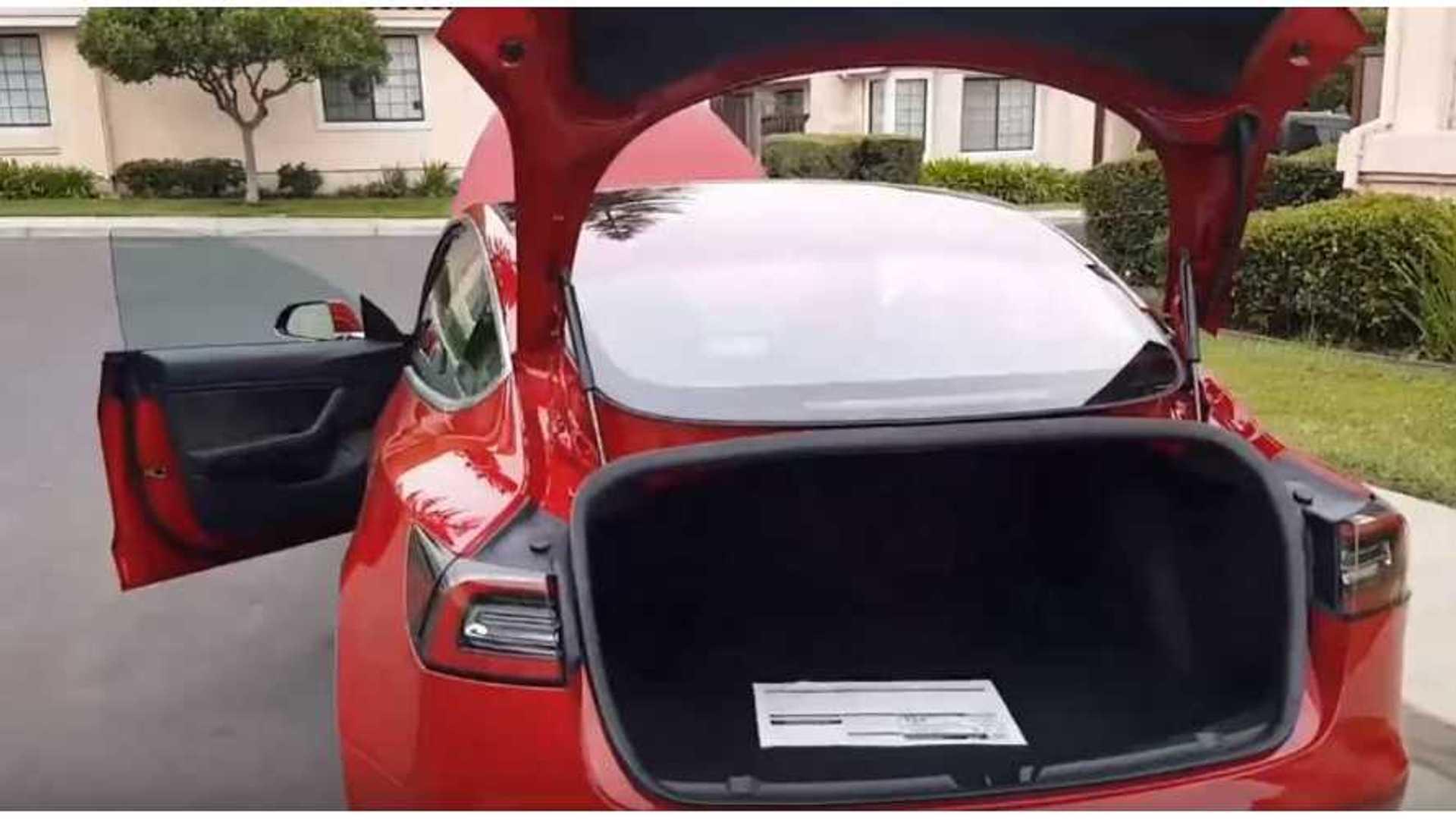 Tesla Model 3 Walkaround Video Shows Huge Trunk Opening