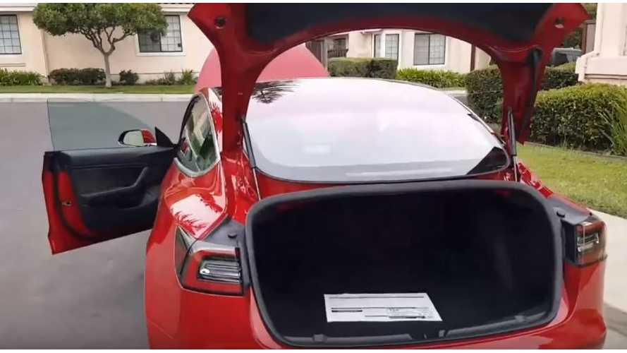 Tesla Model 3 Walkaround Video Shows Huge Trunk Opening, Brief Glance At Window Sticker