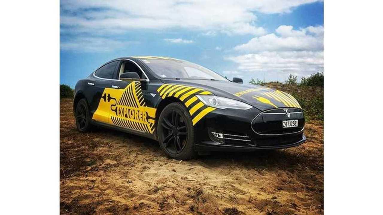 First Tesla Model S on a E-Explorer mission