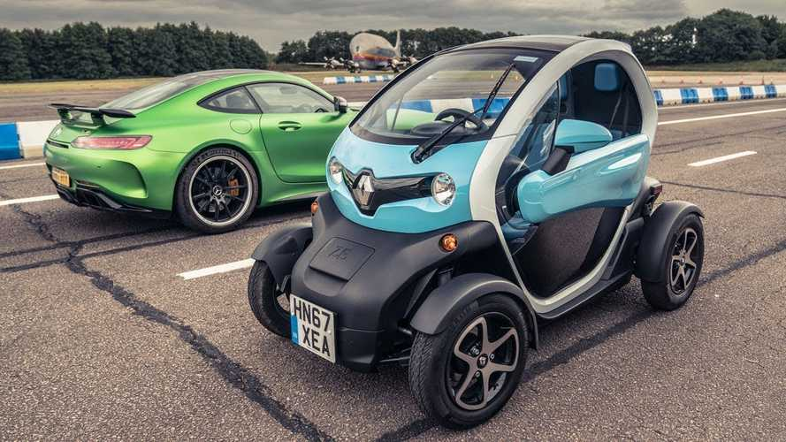 Watch Renault Twizy Race Mercedes-AMG GT R In Reverse
