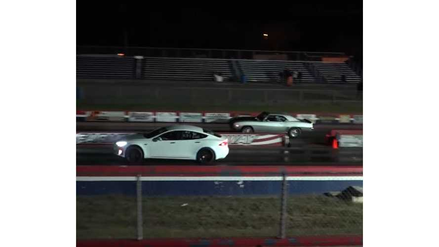 Tesla Model S P100DL Takes On Real Drag Racer In Finals At The Strip - Video